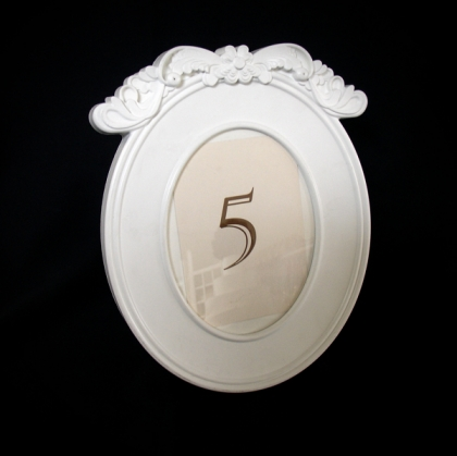 Table Number - Antique White frame Oval
