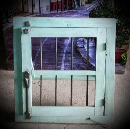 Rustic Old Green Wooden Window