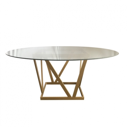 Glass Table steel gold square base