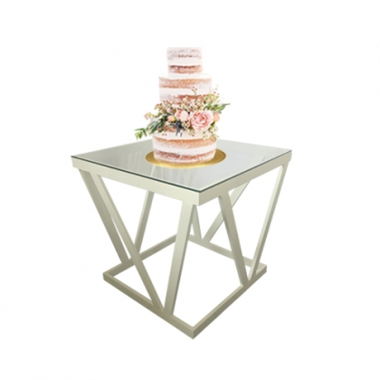 Cake table white steel square base white