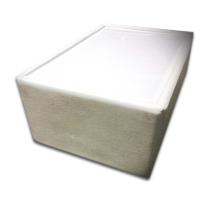 Leather Lighted coffee table white 80x50cm