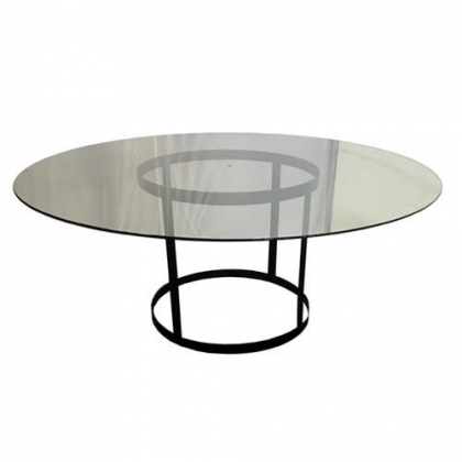 Glass Table Steel Black Round Base