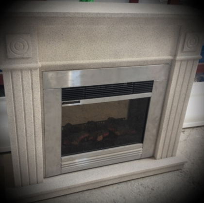 Electric Fireplace with grey grainy frame