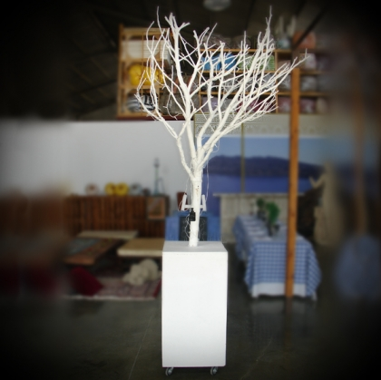 Tree white wooden base