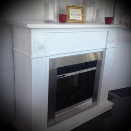 Electric Fireplace with White frame
