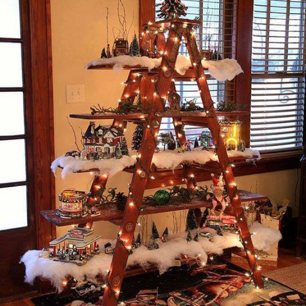 Christmas ladder wooden
