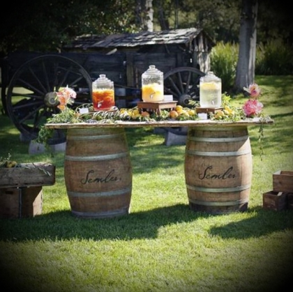 Lemonade Stand - Wooden Barrel