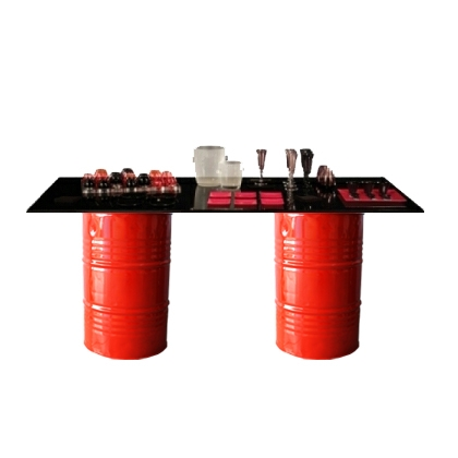 Buffet table oil barrels