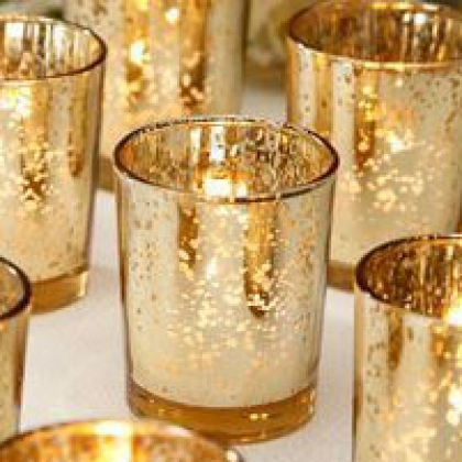 Gold Glass Votive Holders