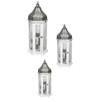 Floor Lanterns white - set of 3 (126cm / 76cm / 52cm)