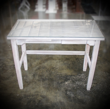 Wooden washed white Table glass on top 45cm X 85cm