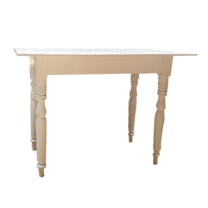 White Classic Wooden Side Table  109 X 70  X 80 hight