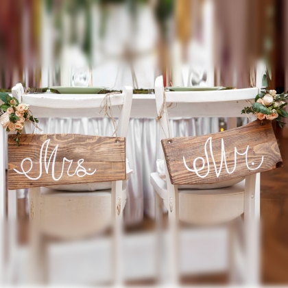 Wooden Sign for Mr & Mrs A
