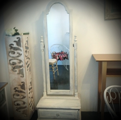 Rustic White wash standing mirror