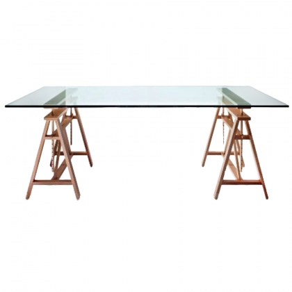 Table Rectangular Glass top on wood color legs 90cm x 180cm