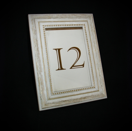 Table Number - Classic washed White frame