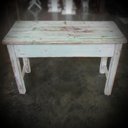 Wooden Table washed white & green 45cm X 95cm