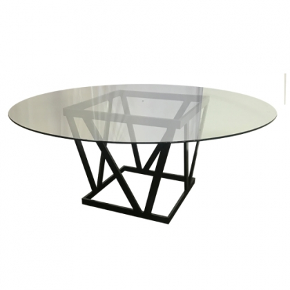 Glass Table steel black square base