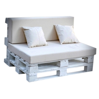 Couch Pallet White with White Cushion