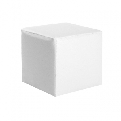 Pouf Square leather white