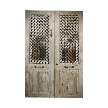 Rustic White Wash Old Door with mirror