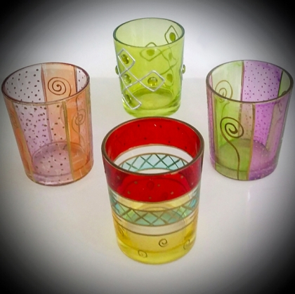 Ethnic Glass Votive Holders