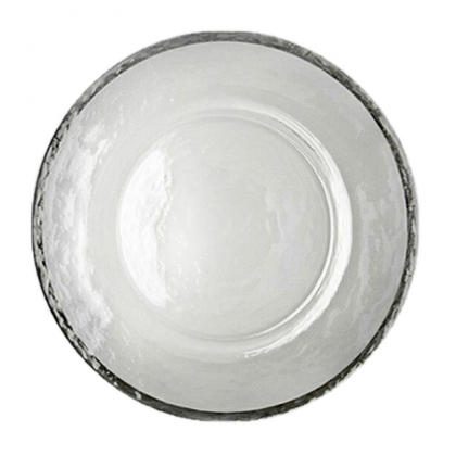 Charger Plate -  Foggy Glass With Silver Rim