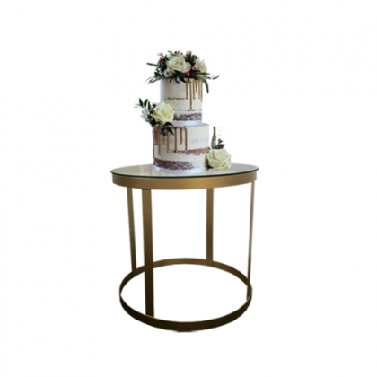 Cake table gold steel round base