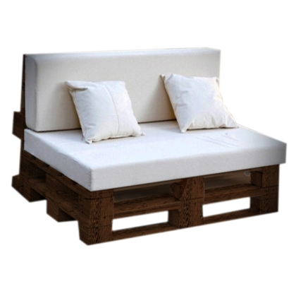 Couch Pallet Brown with White Cushion