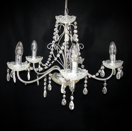 Chandelier with Crystals (5 light bulbs )