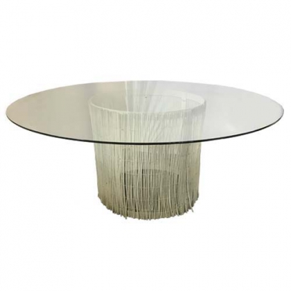 Glass Table Branch White Round Base