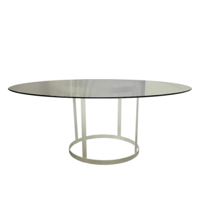 Glass Table Steel White Round Base