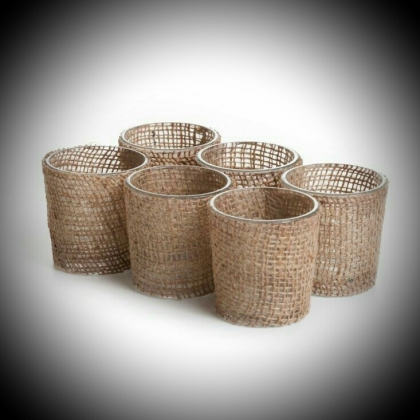 Glass Votive Holders Burlap
