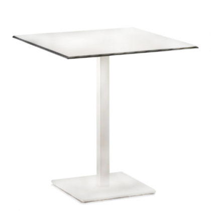 Small steel square table white 80x80cm