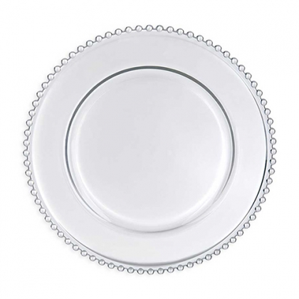 CHARGER PLATE - CLEAR GLASS BEADED