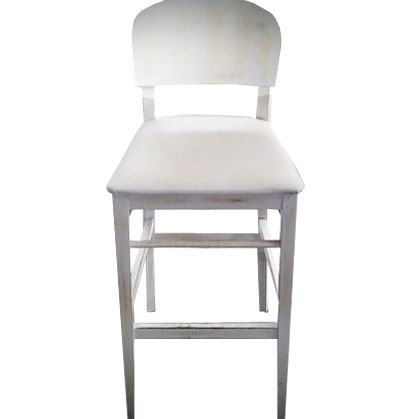 Stool Wooden white with back