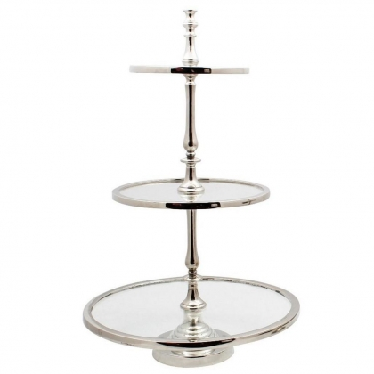 3 Layer Platter stainless with glass 43-30-23x71cm