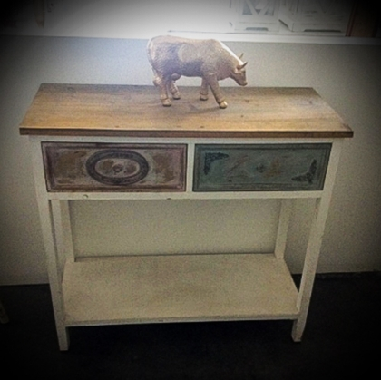 Console Table with Color Drawers