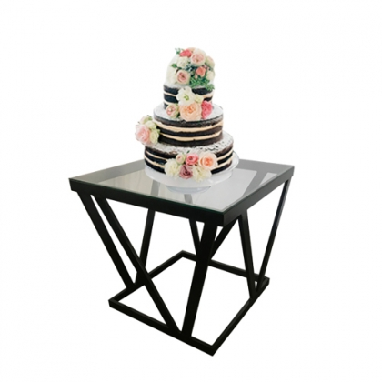 Cake table black steel square base