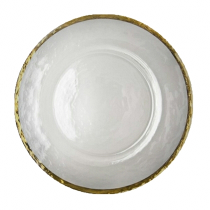 Charger Plate -  Foggy Glass With Gold Rim