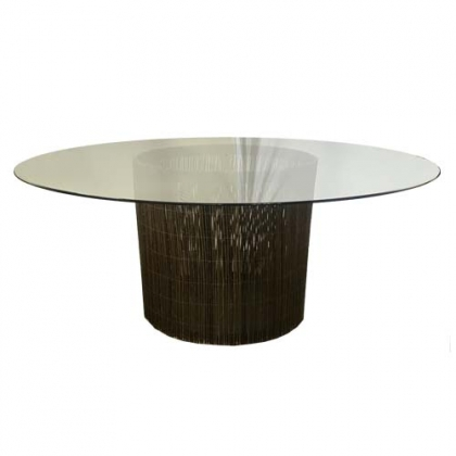 Glass Table Branch Brown Round Base