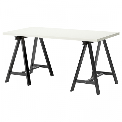 Table Rectangular White on black legs 90cm x 240cm