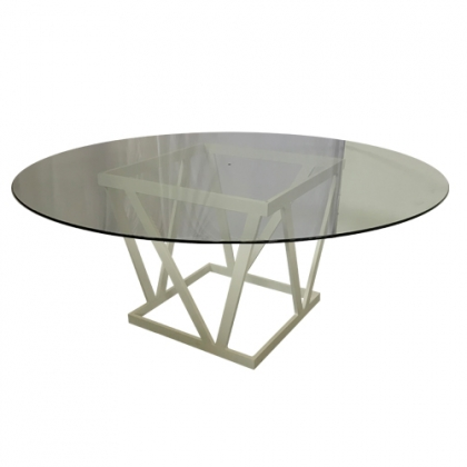 Glass Table steel white square base