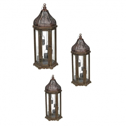 Floor Lanterns wooden brown - set of 3 (126cm / 76cm / 52cm)