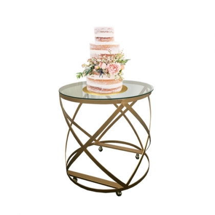 Cake table gold round steel cross leg