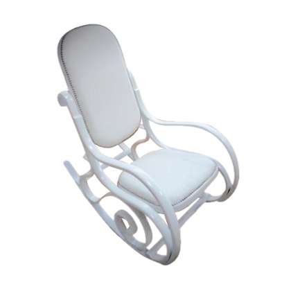 White Loui Leather Rocking Chair