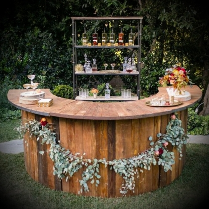 Bar - Rustic Wooden Semi-circle