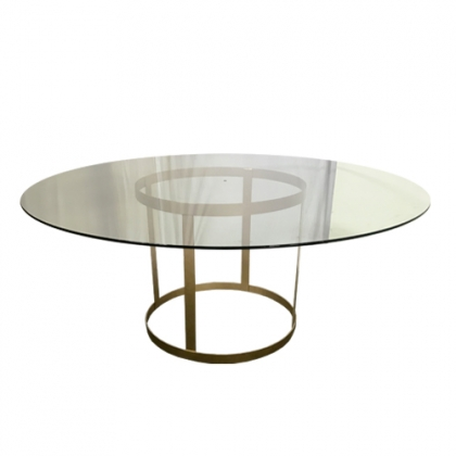 Glass Table Steel Gold Round Base