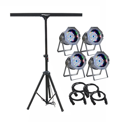 4 X LED PAR+STAND AND CABLE
